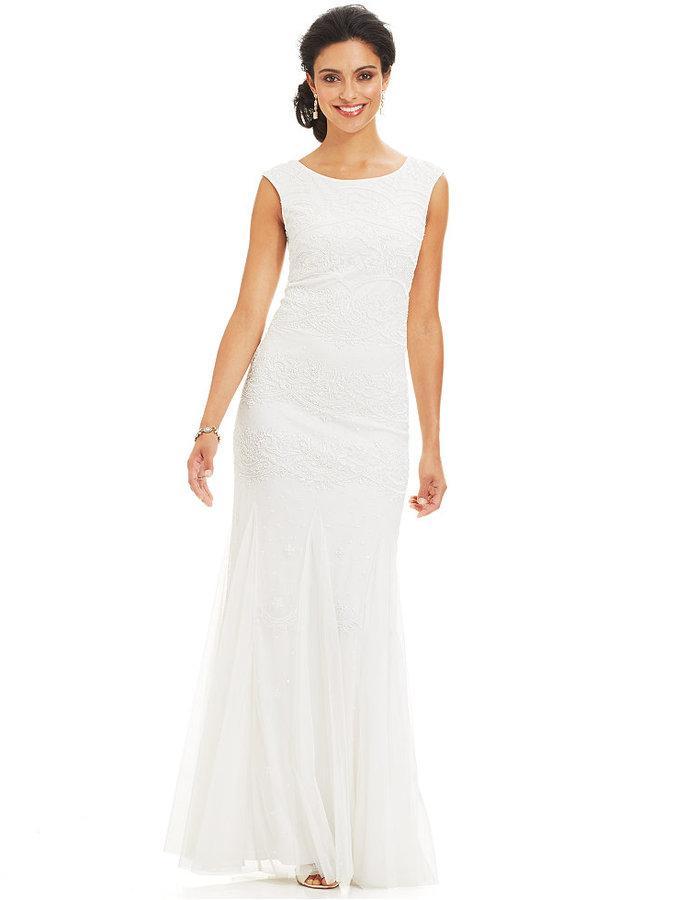 c97980a5ed4f7 Adrianna Papell Cap-Sleeve Beaded Mermaid Gown #2185834 - Weddbook