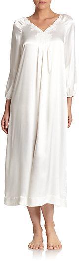 Mariage - Oscar de la Renta Sleepwear Lace-Detail Satin Long Gown