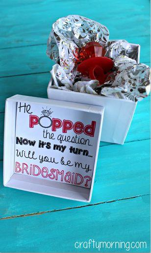 "Свадьба - ""He Popped The Question…"" Bridesmaid Ring Pop Idea   Free Printable"