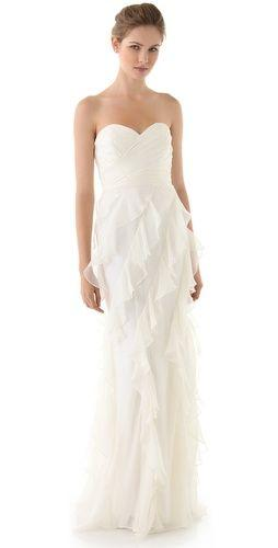 Wedding - Iridescent Strapless Ruffle Gown
