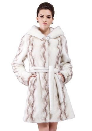 Wedding - Faux white mink fur with gray twill middle fur coat