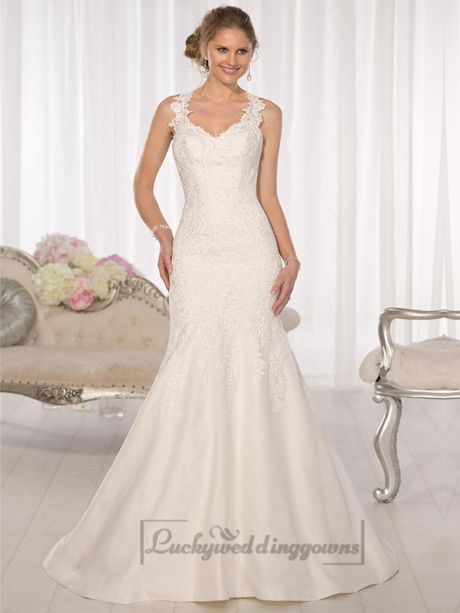 Low Back Wedding Dress Fit And Flare : Straps fit and flare sweetheart lace wedding dresses with