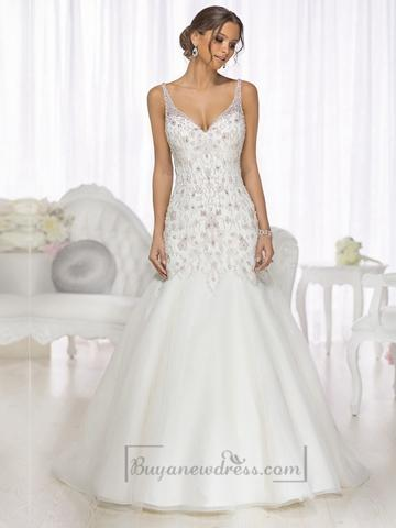 Boda - Mermaid Beaded Straps & Bodice V-neck Wedding Dresses with High Illusion Back