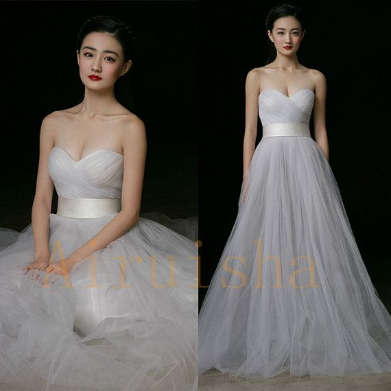 Simple A Line Light Grey Sweetheart Tulle Wedding Gowns Dresses Bridal 2017