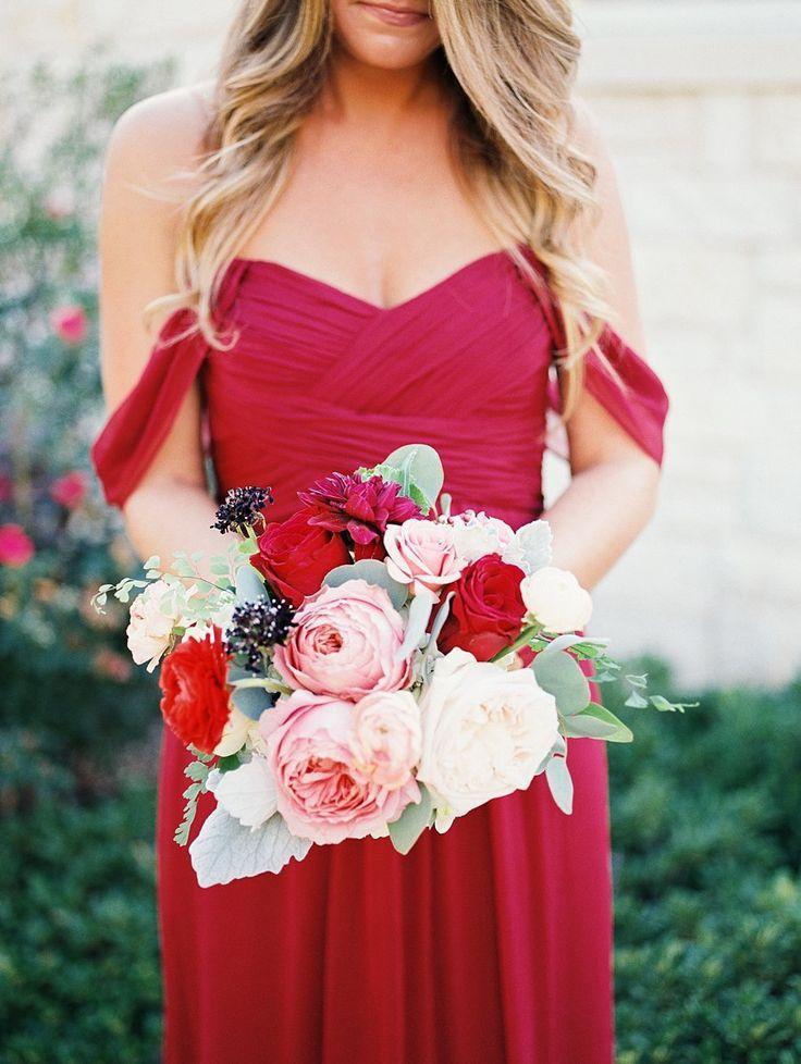 Red Wedding Crimson Bridesmaids Dress 2187778 Weddbook