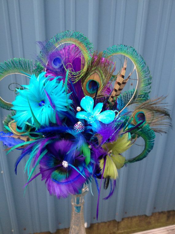Peacock Wedding Bouquet Bridal Sparkling Crystals Beautiful Brooches Feather Discounts Price On Sets