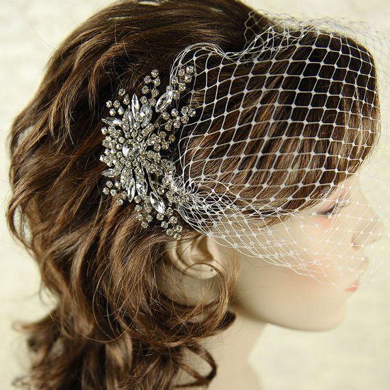 Vintage Wedding Hairstyles With Birdcage Veil: Classic Birdcage Veil, French Veiling, Wedding Bridal Veil