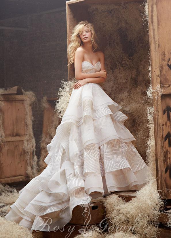 Свадьба - Ivory Strapless Twist Sweetheart Bodice Tiered Ball Gown Wedding Dress