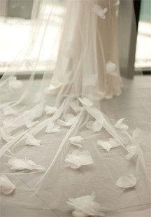 Hochzeit - Bridal Veil, Cathedral Long Veil With Organza Flowers-- PORTIA