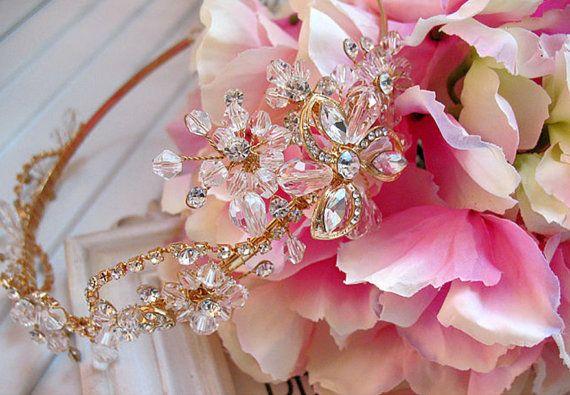 Mariage - Crystal Bridal Gold Tiara, Rhinestone Crystals Headband, Rhinestone Tiara, Vintage Style Wedding Tiara, Bride Flower Tiara