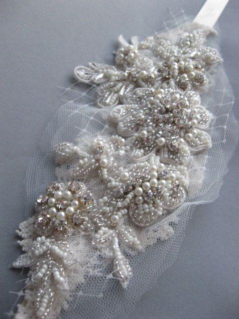 Mariage - Vintage Insired Adornment Rhinestone Pearl Lace Bridal Headband Art Nouveau Wedding Accessory Ivory Chamagne Embroidered Satin Ribbon Tie