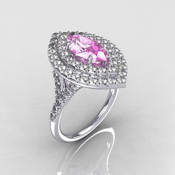 Boda - Soleste Style Bridal 10K White Gold 1.0 Carat Marquise Light Pink Sapphire Diamond Engagement Ring R117-10WGDLPS