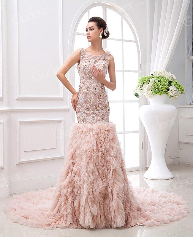 Wedding - Illusion Bateau Neck Embroidered Drop Waist Tiered Blush Mermaid Wedding Dress