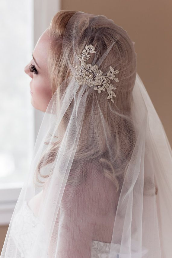 Wedding - Gold Lace Juliet Bridal Cap Wedding Veil, Alencon Lace With Pearls And Sequins, Fingertip, Waltz, Chapel, Cathedral, Style: Rosa Gold #1109