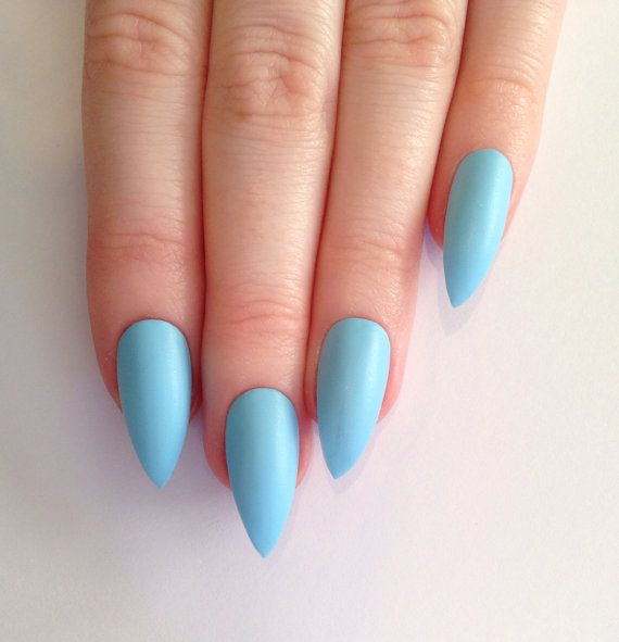 Matte Baby Blue Stiletto Nails Nail Designs Art Acrylic Pointy Fake