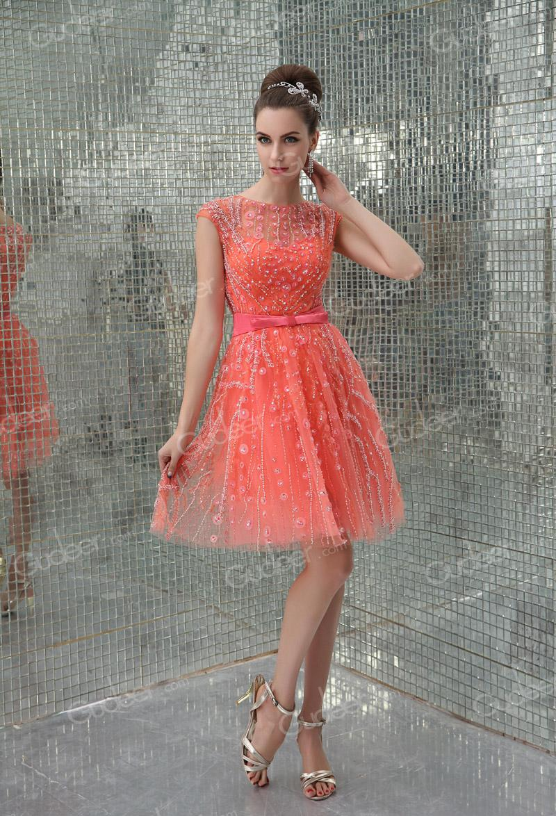 Wedding - Illusion High Neck Cap Sleeves Sequins Orange Tulle Cocktail Dress