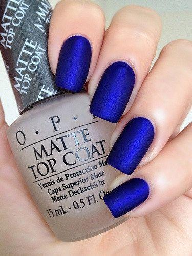 Wedding - OPI Royal Blue Matte Manicure ~ OPI Blue My Mind, Opi Matte Top Coat With Easy To Follow Instructions