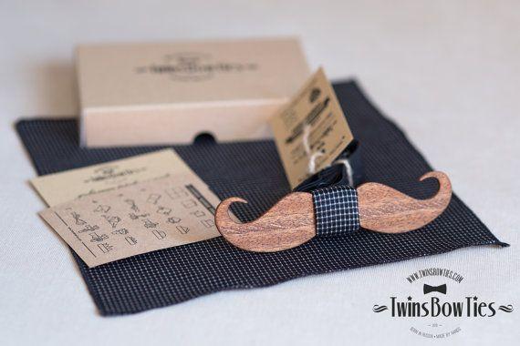 "Hochzeit - Wooden Bow Tie ""MUSTACHE"" Classic, 100% Handicraft / Unique Wood Bow Tie By TwinsBowTies"