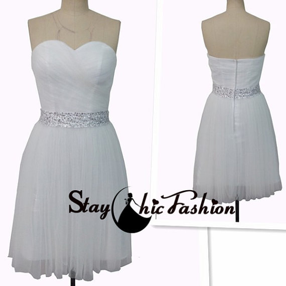 Wedding - White Ruched Strapless Short Bridesmaid Dress with Sequined Waist