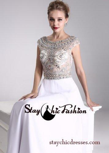 Hochzeit - Rhinestone Beaded Sheer Top White Long Scoop Neck Low Back Evening Dress