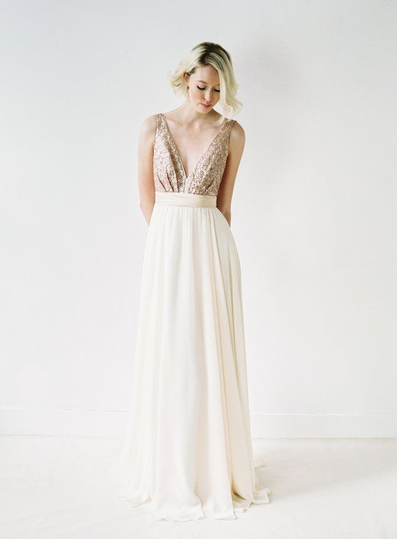 Wedding - Eden // Rose Gold Sequinned, Backless Wedding Dress
