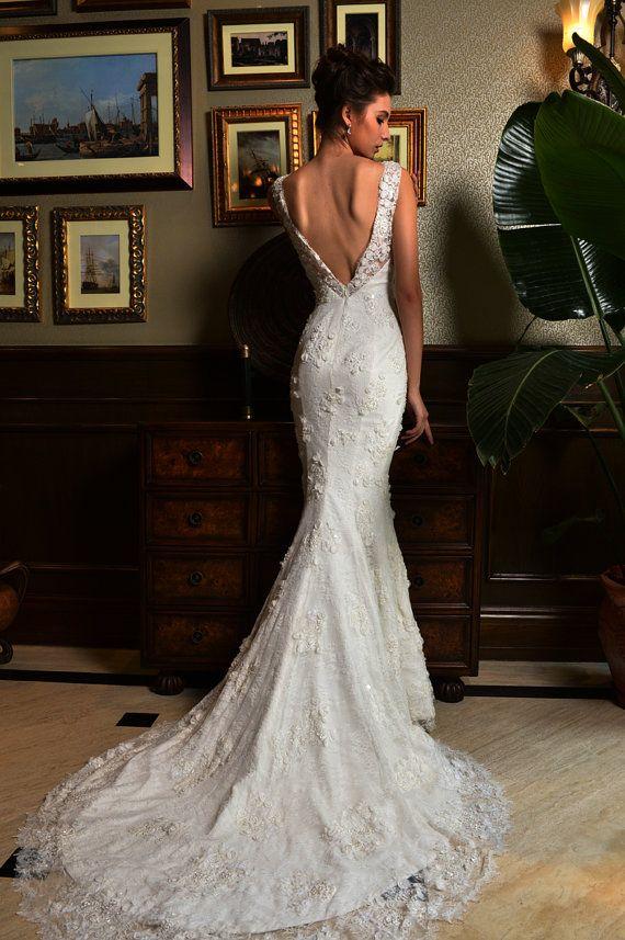 Hochzeit - Lace Short-sleeve Merimaid Wedding Dress