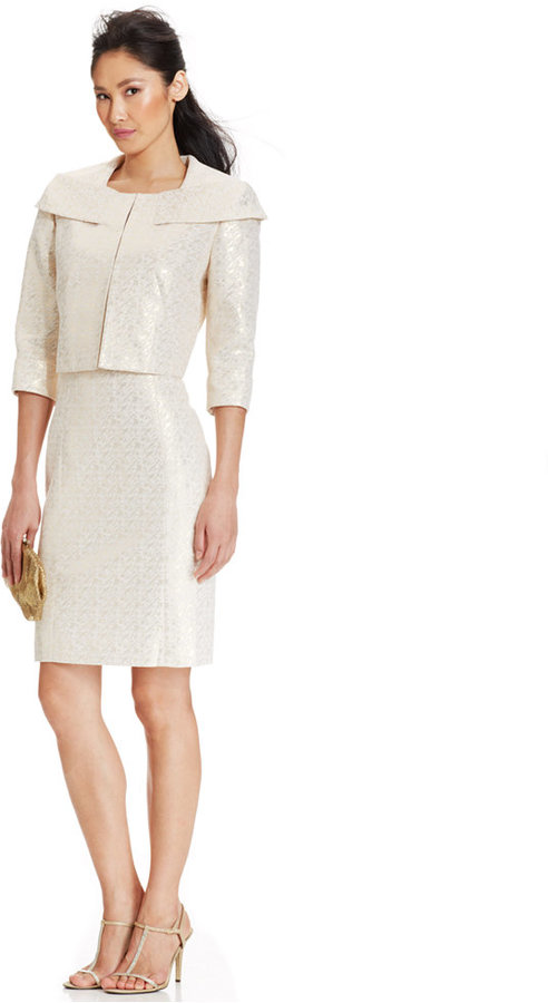 Tahari ASL Cropped Jacket Metallic Jacquard Dress Suit #2190679