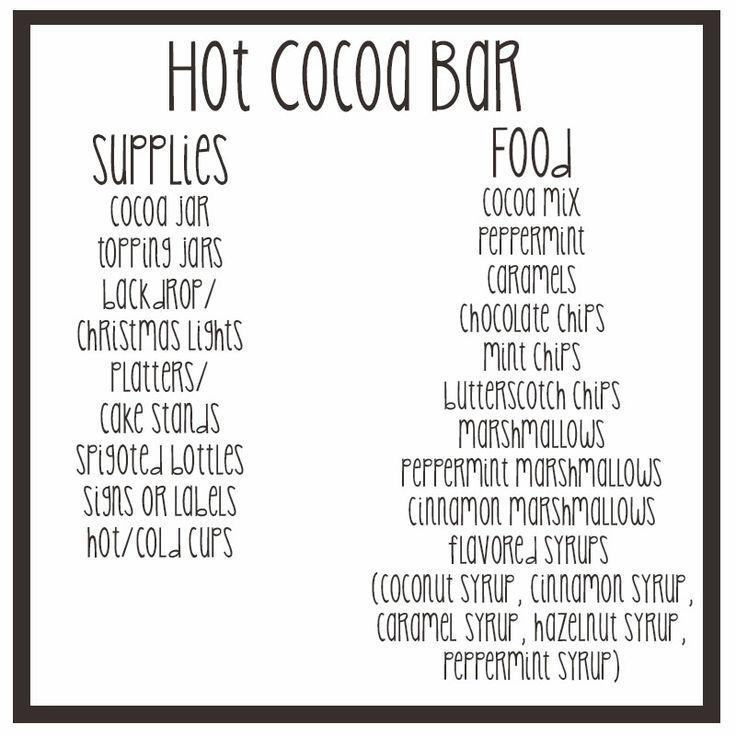 Wedding - DIY Hot Cocoa Bar (and Shopping List)