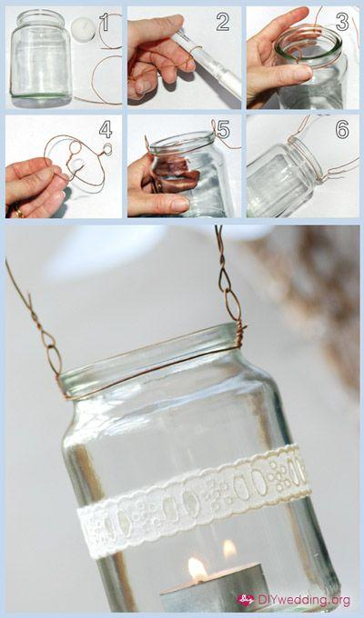 Свадьба - Garden Lanterns – How To Hang Mason Jars With Wire.