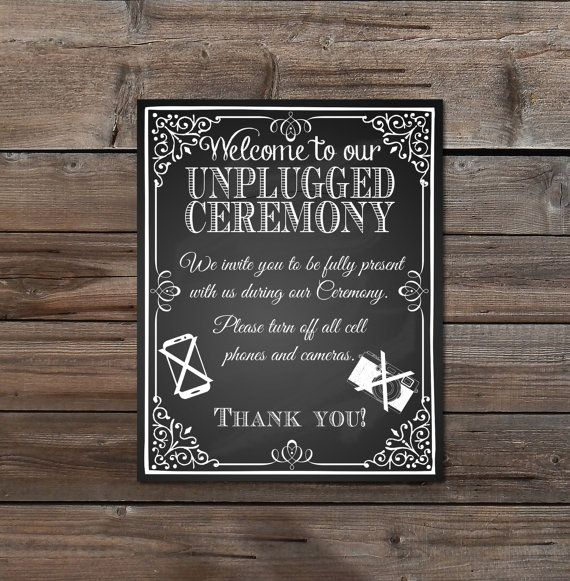 wedding sign unplugged wedding chalkboard party bride instant download printable no cameras cell phones large 16 x 20 8 x 10 chalksuite