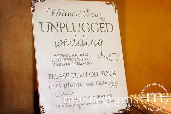 Свадьба - Unplugged Wedding Ceremony Sign Sign - Turn Off Cell Phone Signage - Matching Table Numbers - Wedding Guest Card SS01