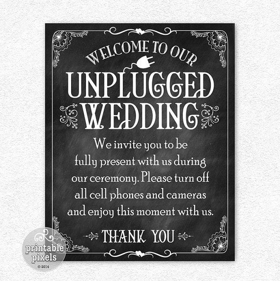 photograph about Printable Chalkboard Signs named Unplugged Wedding day 8x10 Printable Chalkboard Indicator Quick