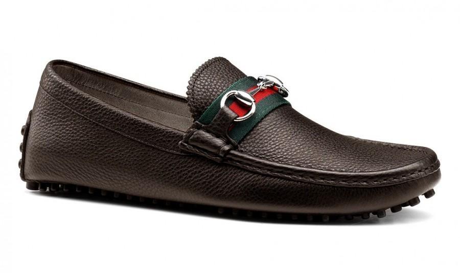 Düğün - GUCCI Men's Driver Nickel Hardware Loafers Pebble Sole Shoes