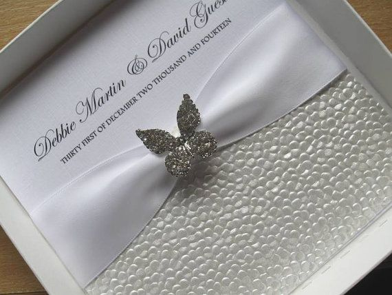 Diamante Butterfly Wedding Invitation With Without Box – Butterfly Wedding Invitations