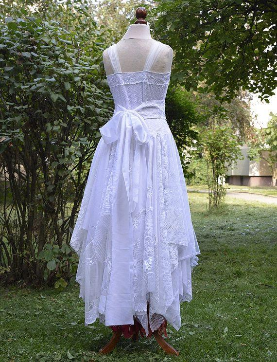 Свадьба - Recycled Upcycled Wedding Dress Fairy Tattered Romantic Dress White And Burnt Red