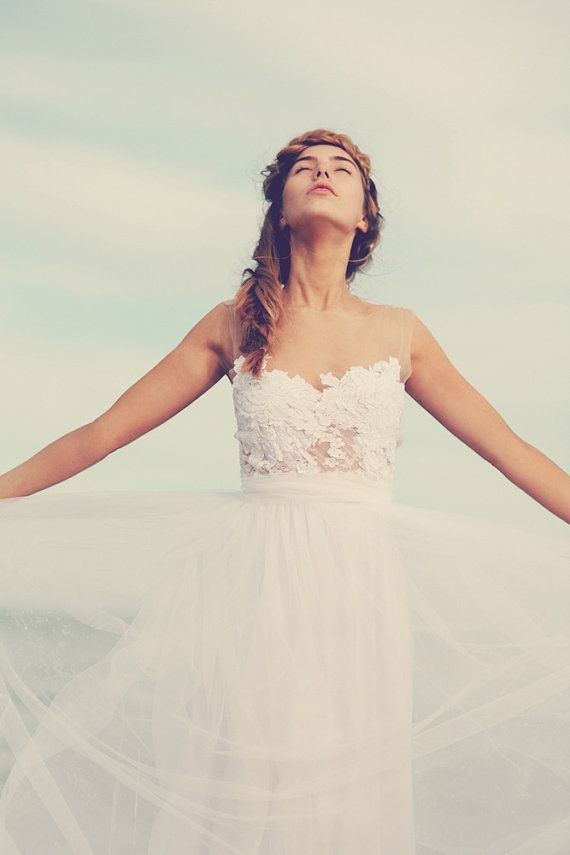 Свадьба - Dreamy Sheer Neck Wedding Dress With Stunning Soft Tulle Skirt And Sheer Lace Detailing