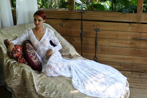 زفاف - White Lace Bridal Nightgown With Train Wedding Lingerie Bridal Sleepwear Lingerie Honeymoon Trousseau Beach Wedding