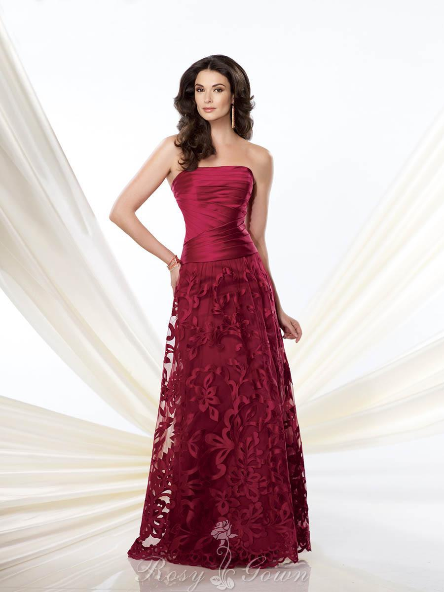 Wedding - Strapless Red Pleated Satin and Tulle A-line Mother of the Bride Dress