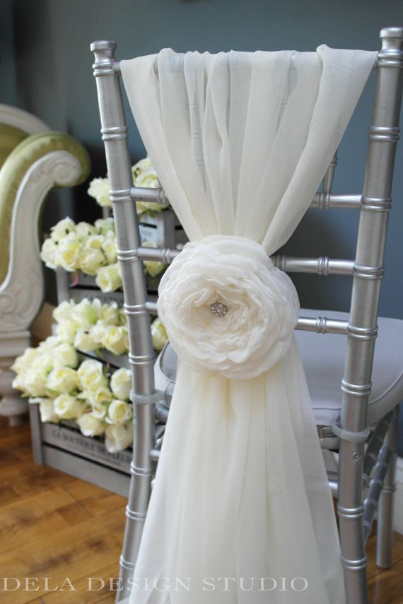 "New Cloud Rose 7"" Fabric Flower Wedding Chair Sash"