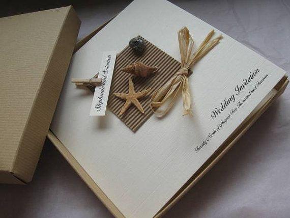 Luxury Starfish Shell Wedding Invitation Boxed Beach Themed