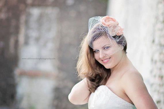 Wedding - Nicky Bridal Hair Accessories, Fascinators, Peach Floral Fascinator With Birdcage Blusher Veil