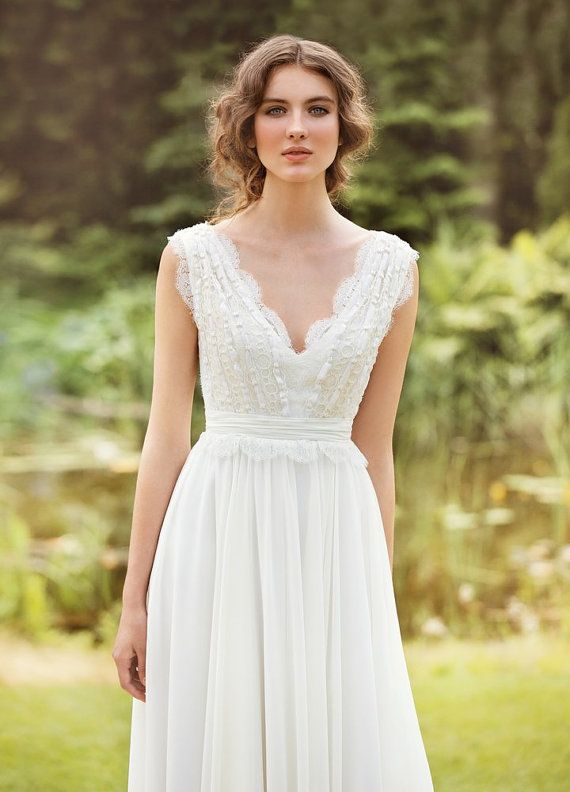 Designer Wedding Dress Bohemian Made From Chiffon French Lace Natural Silk With Pearls