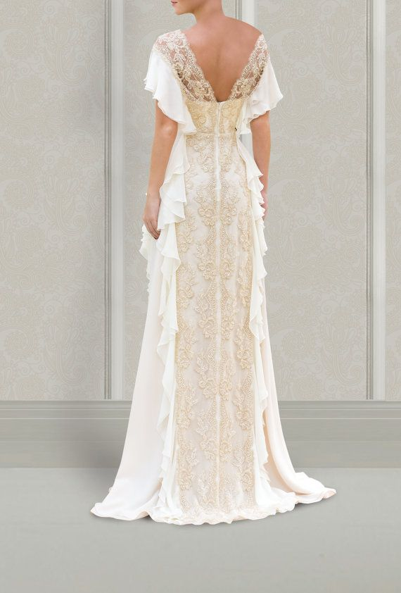 Wedding dress designer aristocratic gown from shiffon and for Italian design wedding dresses