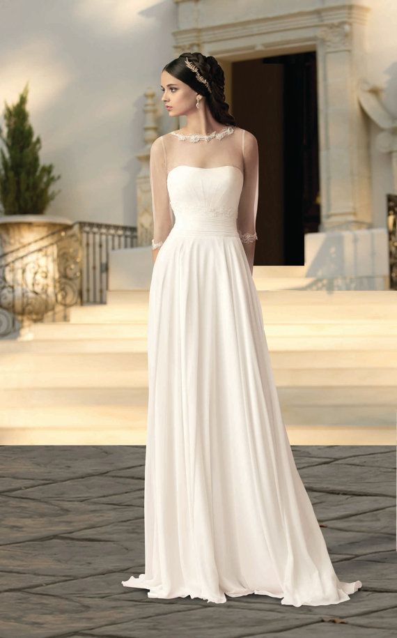 Wedding Dresses Bolero.Wedding Gown From Chiffon And Bolero Romantic And Dreamy