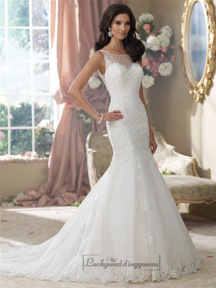 Embroidered V Back Mermaid Wedding Dresses Features