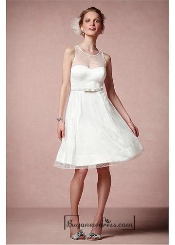 Mariage - Beautiful Satin & Tulle A-line Illusion Jewel Neck Raised Waistline Knee-length Bridesmaid Dress