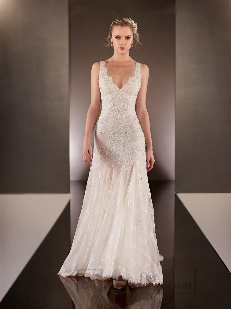 Elegant Beaded Straps Plunging V Neck Lace Wedding Dresses With