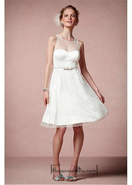 Свадьба - Beautiful Satin & Tulle A-line Illusion Jewel Neck Raised Waistline Knee-length Bridesmaid Dress