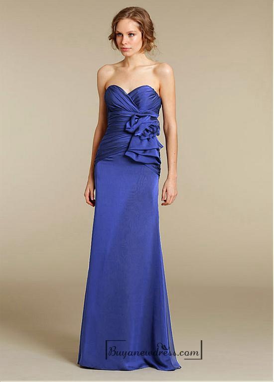 Hochzeit - Beautiful Satin Chiffon & Stretch Satin A-line Sweetheart Neck Dropped Waist Full-length Bridesmaid Dress