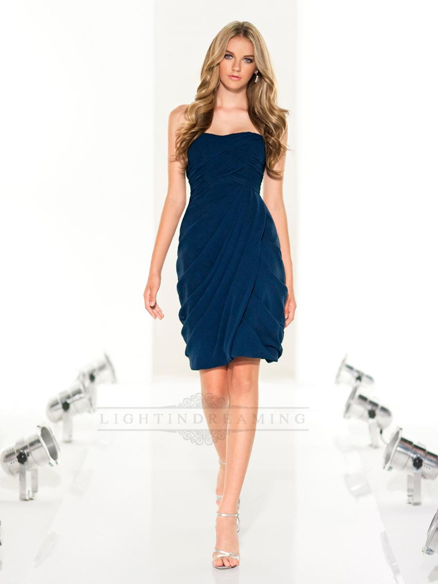 Mariage - Strapless Criss Cross Cocktail Bridesmaid Dress with Asymmetrical Draped Bodice